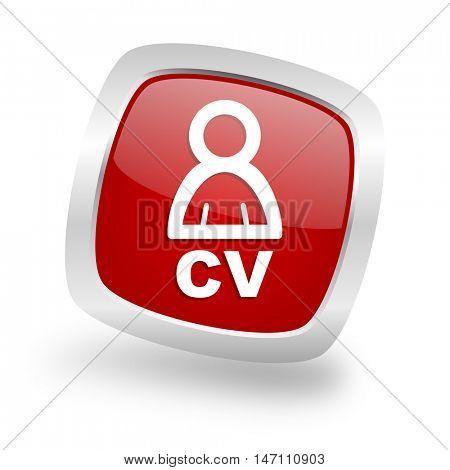 cv square glossy red chrome silver metallic web icon