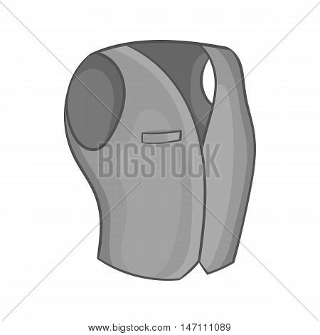 Mens classic vest icon in black monochrome style isolated on white background. Clothing symbol vector illustration