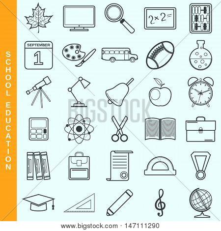 Thin line school education vector icons set