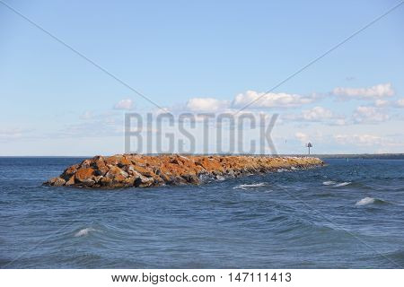A breakwater in the Straits of Mackinac, Michigan