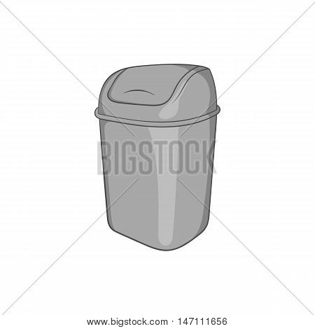 Toilet trash icon in black monochrome style isolated on white background. Garbage symbol vector illustration