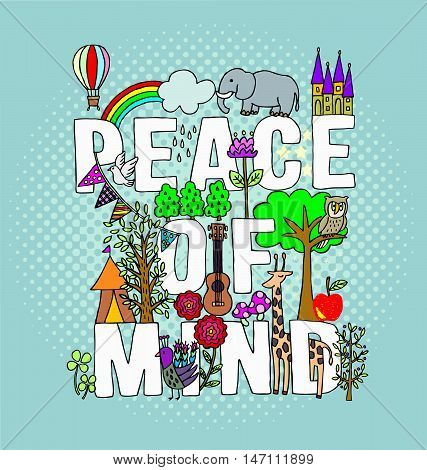 peaceful hand draw vector  illustration for T-shirt printed and poster