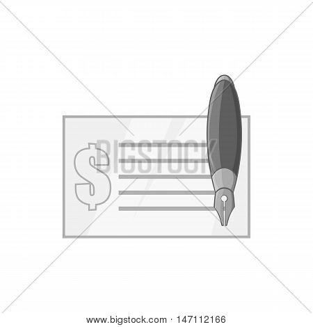 Checkbook icon in black monochrome style isolated on white background. Payment symbol vector illustration