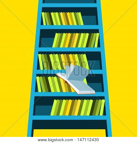 Bookcase Vector illustration Open book falls down from blue bookcase Bottom view Flat design