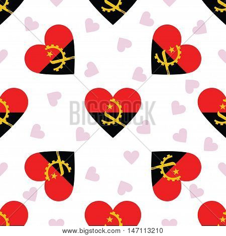 Angola Independence Day Seamless Pattern. Patriotic Background With Country National Flag In The Sha