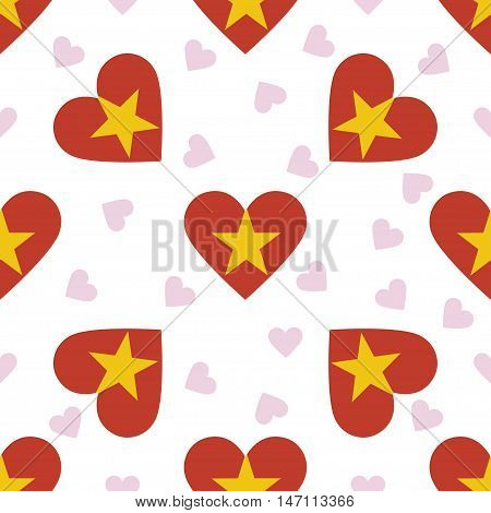 Vietnam Independence Day Seamless Pattern. Patriotic Background With Country National Flag In The Sh