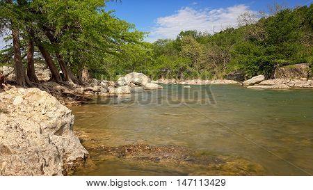 The Pedernales River runs through Pedernales Falls State Park in Texas