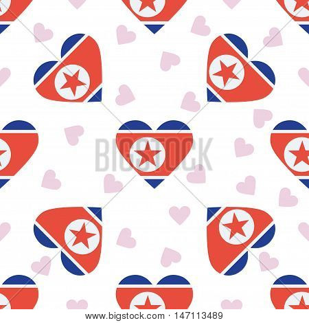 Korea, Democratic People's Republic Of Independence Day Seamless Pattern. Patriotic Background With