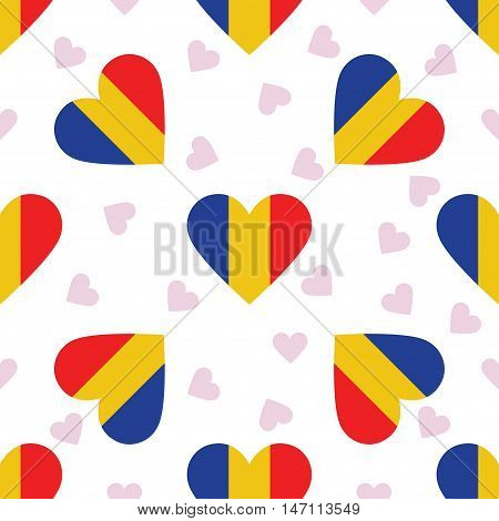 Chad Independence Day Seamless Pattern. Patriotic Background With Country National Flag In The Shape