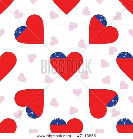 Samoa Independence Day Seamless Pattern. Patriotic Background With Country National Flag In The Shap