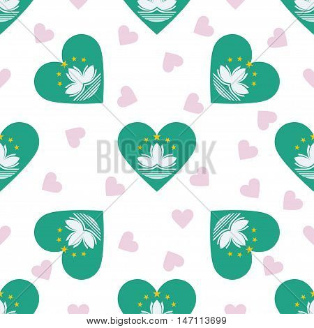 Macao Independence Day Seamless Pattern. Patriotic Background With Country National Flag In The Shap