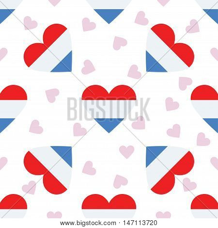 Luxembourg Independence Day Seamless Pattern. Patriotic Background With Country National Flag In The