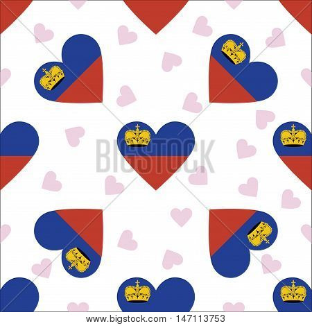Liechtenstein Independence Day Seamless Pattern. Patriotic Background With Country National Flag In