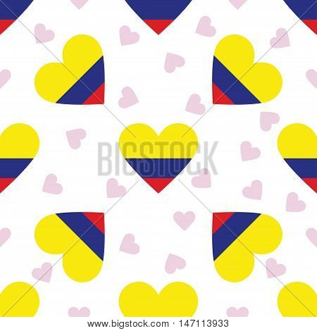 Colombia Independence Day Seamless Pattern. Patriotic Background With Country National Flag In The S