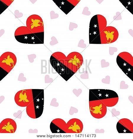 Papua New Guinea Independence Day Seamless Pattern. Patriotic Background With Country National Flag