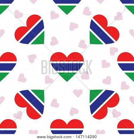 Gambia Independence Day Seamless Pattern. Patriotic Background With Country National Flag In The Sha