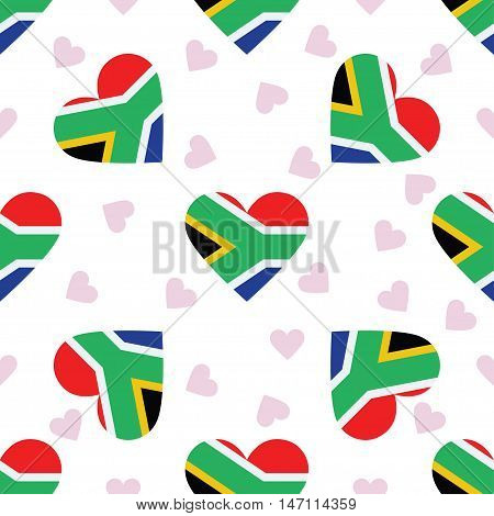 South Africa Independence Day Seamless Pattern. Patriotic Background With Country National Flag In T