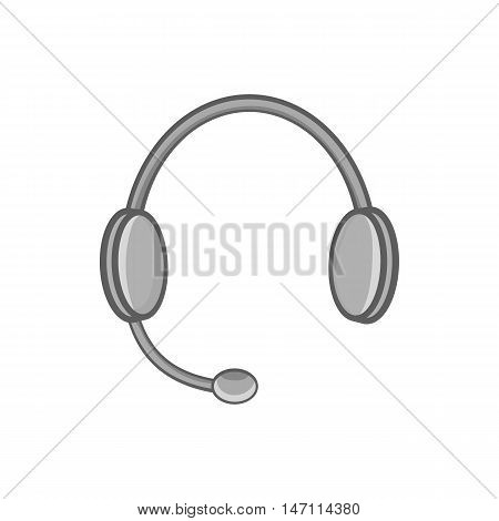 Headphones with microphone icon in black monochrome style isolated on white background. Listen symbol vector illustration