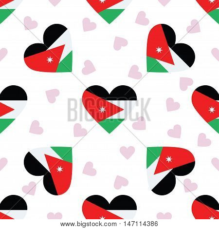 Jordan Independence Day Seamless Pattern. Patriotic Background With Country National Flag In The Sha