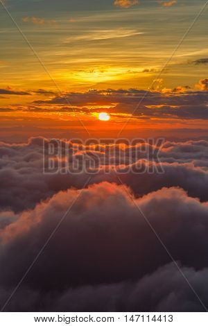 Sun and the mist at sunrise time Landscape at Doi Luang Chiang Dao High mountain in Chiang Mai Province Thailand