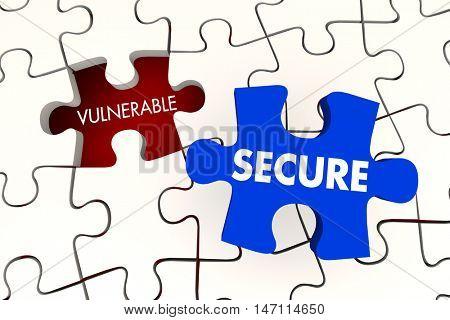 Vulnerable Secure Security Puzzle Piece 3d Illustration