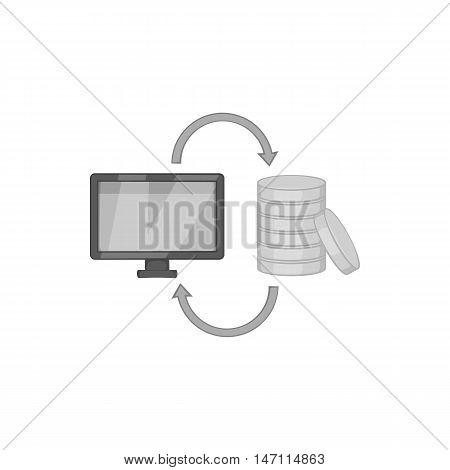 Online earnings icon in black monochrome style isolated on white background. Job symbol vector illustration