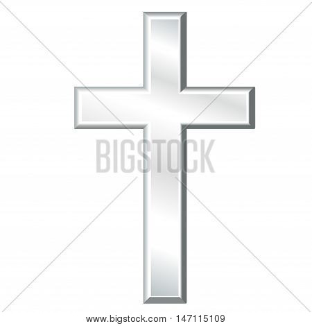 Christian Cross, silver crucifix, symbol of Christianity religion and faith, isolated on a white background.