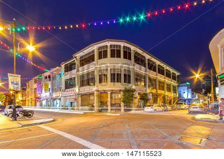 PENANG MALAYSIA - APRIL 15 2016: Cityscape of buildings in Penang Malaysia. On 7 July 2008 George Town was together with Malacca formally inscribed as a UNESCO World Heritage Site.
