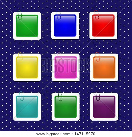 Square paper sticker shapes with paper clips in pastel colors.