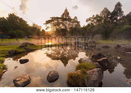 Environment hot spring in sunrise time at Jaeson National Park