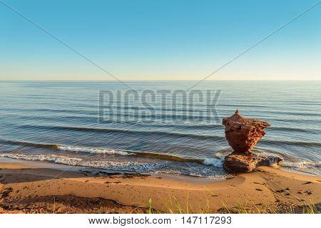 Ocean coast at the sunrise (Central Coastal Drive Prince Edward Island Canada)