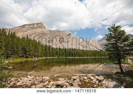 First of four of the Picklejar Lakes in Kananaskis Alberta.
