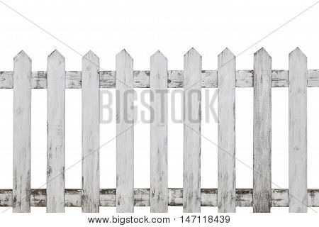 Old white wooden picket fence isolated on white background. Wood fence isolated.