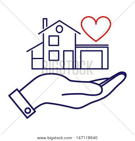 Icon house in hand. Vector illustration for protection, construction, sale, purchase or other use.
