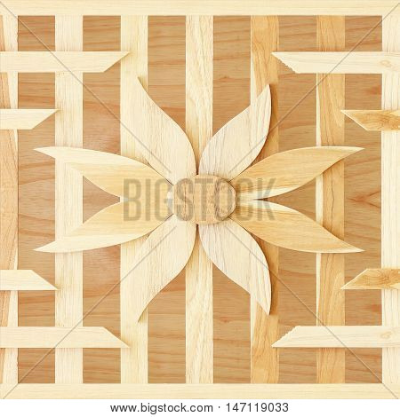 texture of slat flower wall on wood background