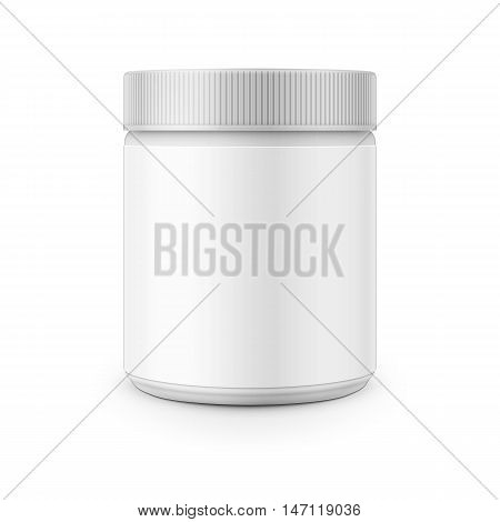 White plastic canister template for stain remover, washing powder, laundry detergent etc. Vector illustration. Packaging collection.