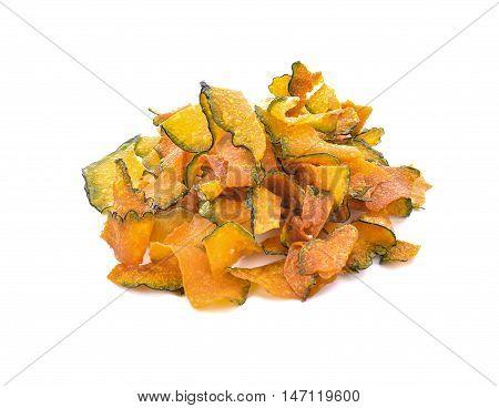 pumpkin crisp snack for health isolated . .