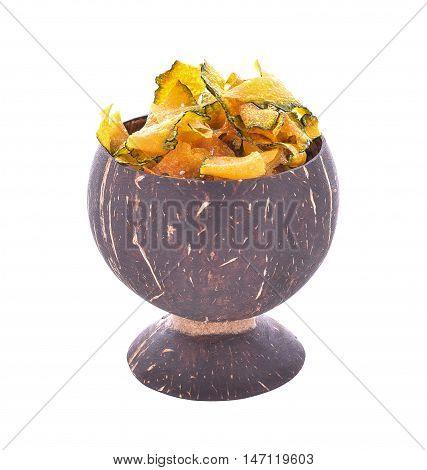 pumpkin crisp snack on coconut shell cup