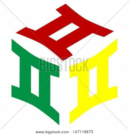 Gemini Sign. Isometric Style Of Red, Green And Yellow Icon.