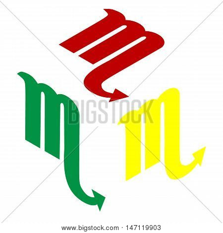 Scorpio Sign Illustration. Isometric Style Of Red, Green And Yellow Icon.