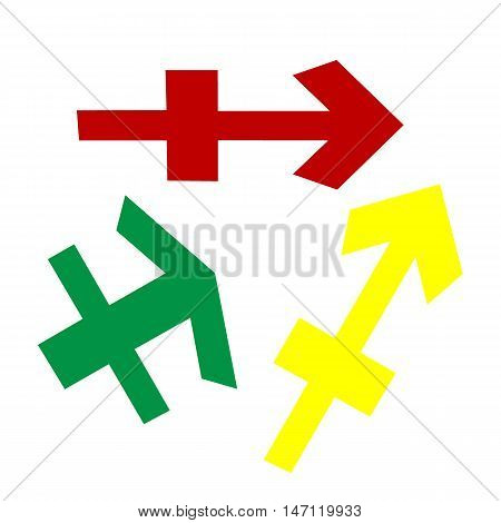 Sagittarius Sign Illustration. Isometric Style Of Red, Green And Yellow Icon.