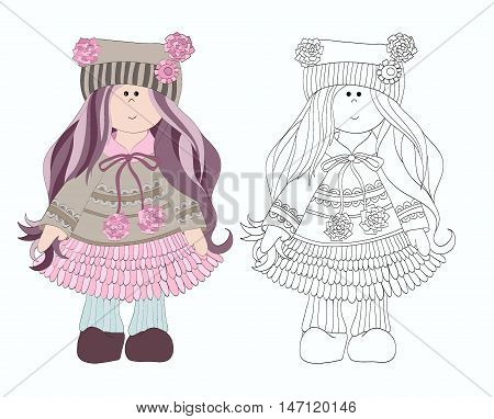 Coloring for girls. Little girl in a hat with pom-poms and a dress. Beautiful doll. Drawing hand girl. Animated girl. Vector