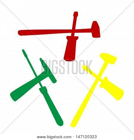 Tools Sign Illustration. Isometric Style Of Red, Green And Yellow Icon.