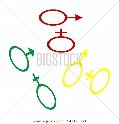 Sex Symbol Sign. Isometric Style Of Red, Green And Yellow Icon.