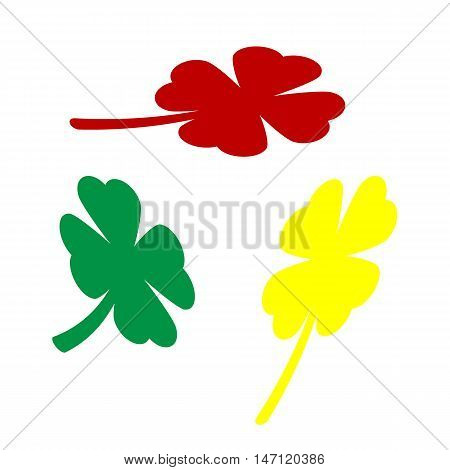 Leaf Clover Sign. Isometric Style Of Red, Green And Yellow Icon.