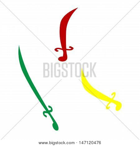 Sword Sign Illustration. Isometric Style Of Red, Green And Yellow Icon.