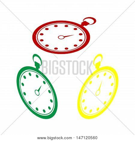 Stopwatch Sign Illustration. Isometric Style Of Red, Green And Yellow Icon.