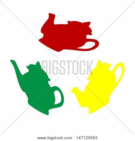 Tea Maker Sign. Isometric Style Of Red, Green And Yellow Icon.