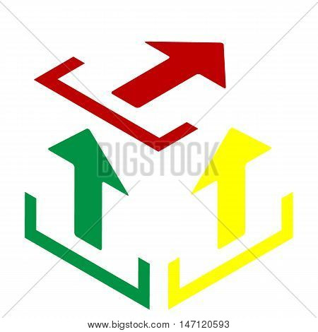 Upload Sign Illustration. Isometric Style Of Red, Green And Yellow Icon.