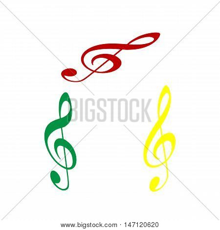 Music Violin Clef Sign. G-clef. Treble Clef. Isometric Style Of Red, Green And Yellow Icon.